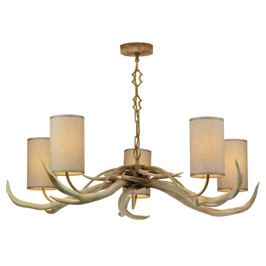 Antler 5 Light with Bleached Pendant Shades by David Hunt.jpg