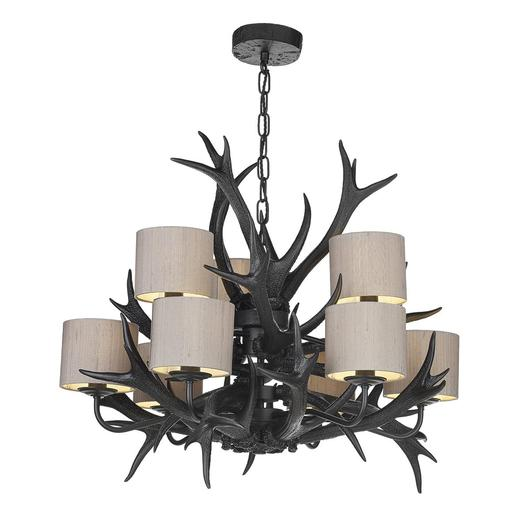 Antler 9 Light Tiered Pendant in Black by David Hunt.jpg
